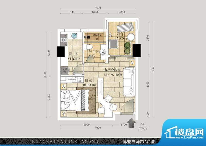 博鳌白马郡C户型 1室面积:46.53平米