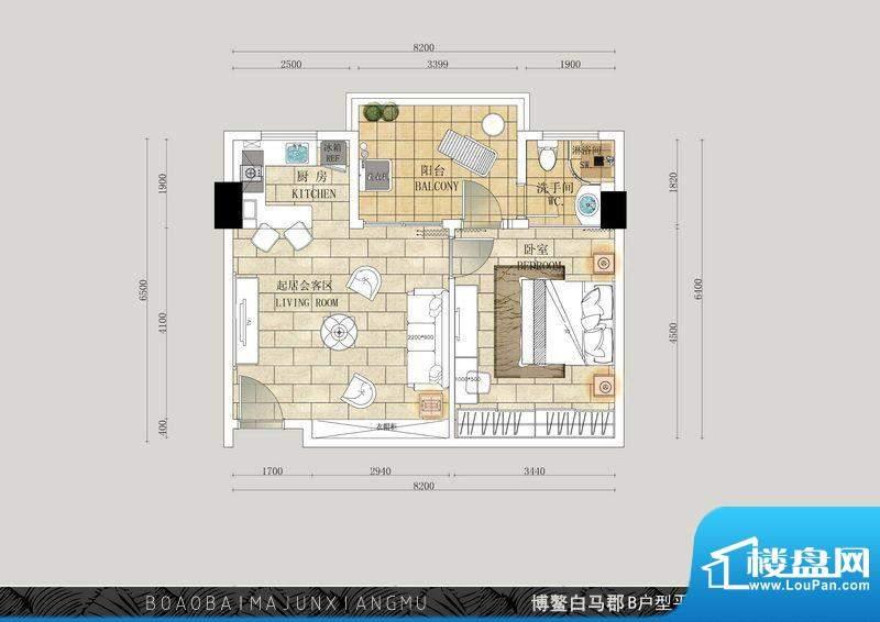 博鳌白马郡B户型 1室面积:67.56平米