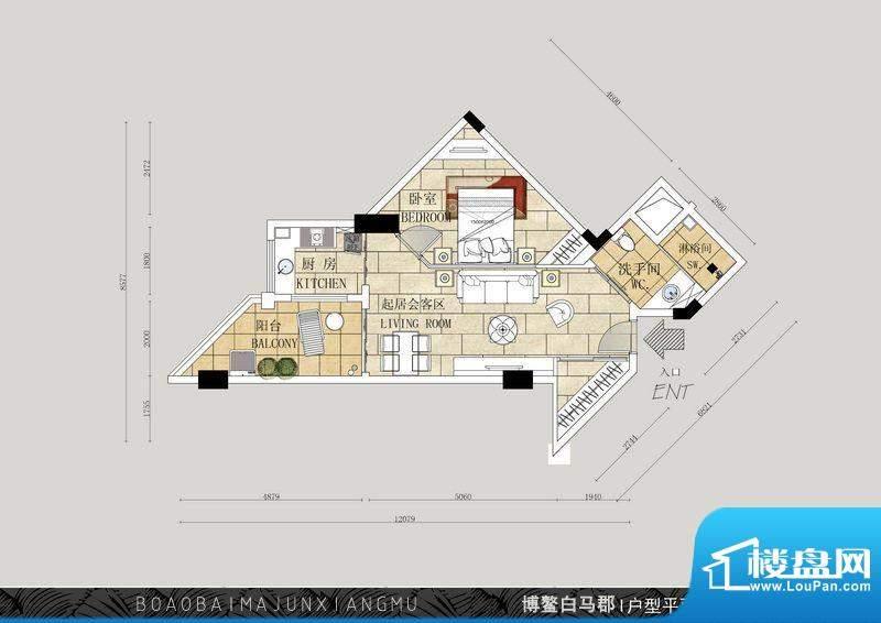 博鳌白马郡J户型 1室面积:63.35平米