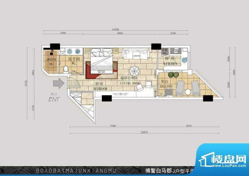 博鳌白马郡K户型 1室面积:57.05平米