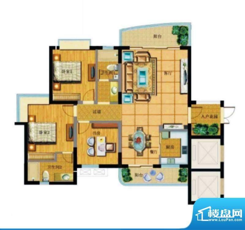 达嘉金色海湾C1洋房面积:140.83平米