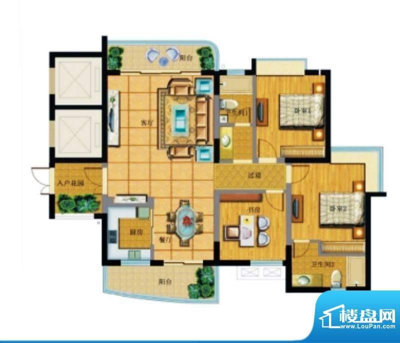 达嘉金色海湾B2洋房面积:140.74平米