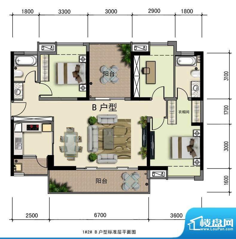 水榭丹堤叠景花园洋面积:120.44平米
