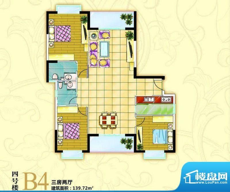 伟业西城国际B4户型面积:139.72平米
