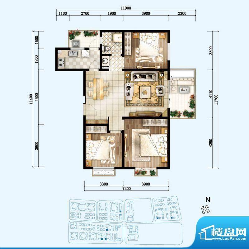 开维生态城C户型 3室面积:109.32平米