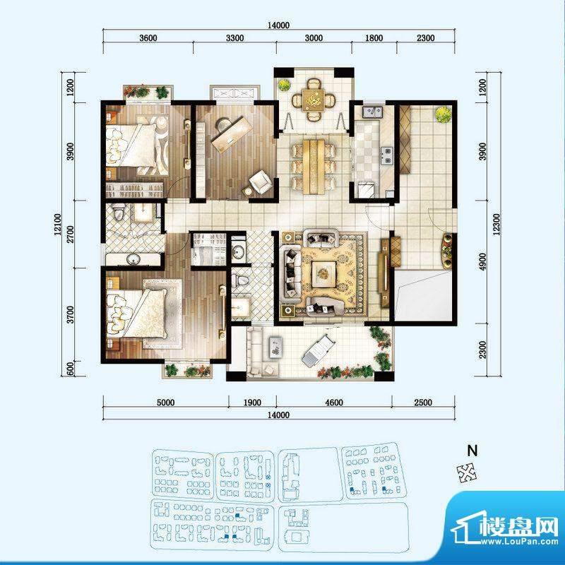 开维生态城D户型 3室面积:145.69平米