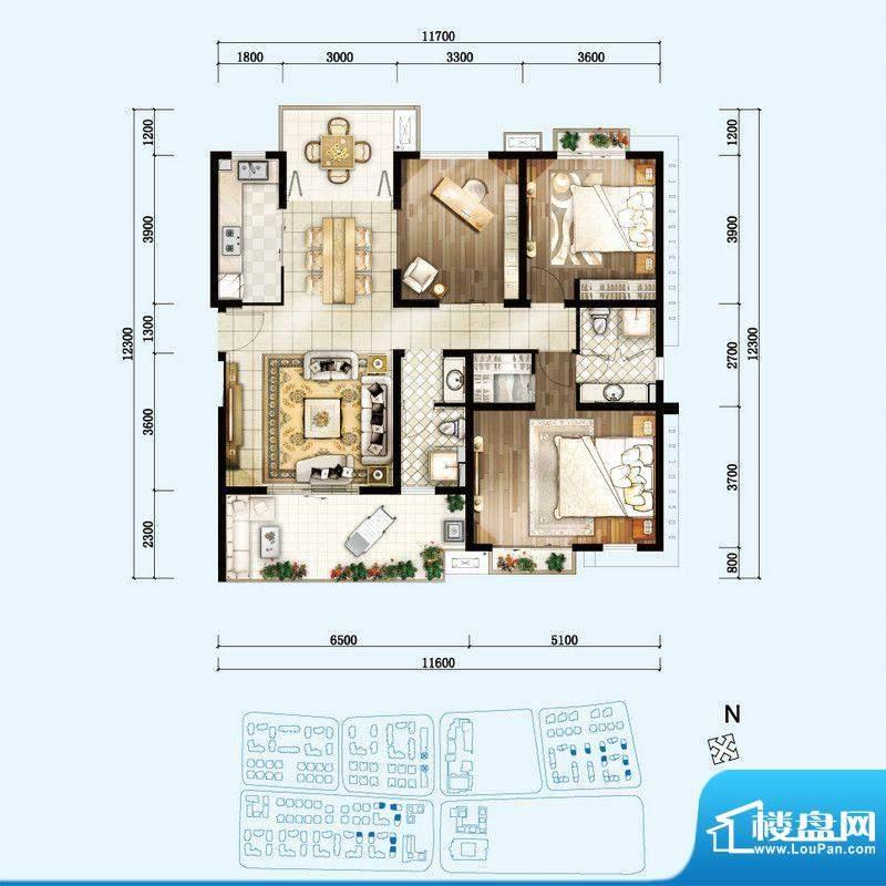 开维生态城F户型 3室面积:136.22平米