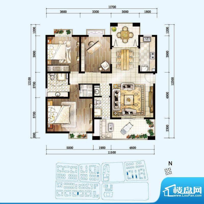 开维生态城G户型 3室面积:135.60平米