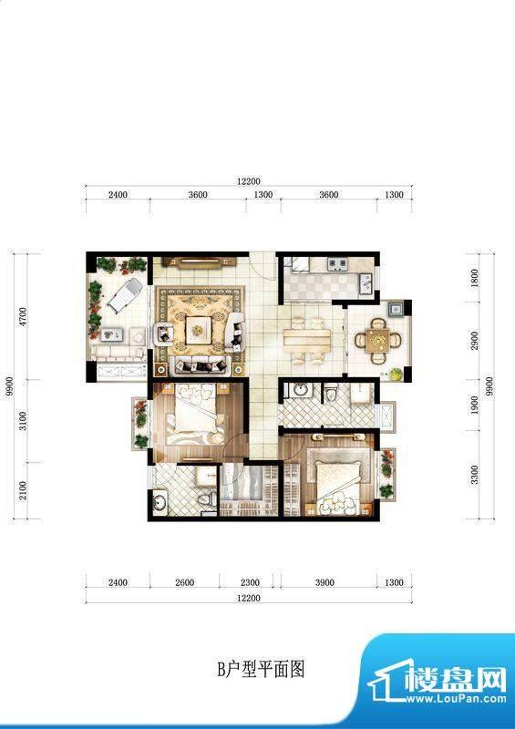 开维生态城B户型 2室面积:105.79平米