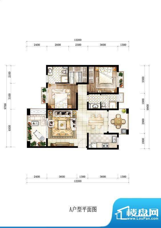 开维生态城A户型 2室面积:104.49平米