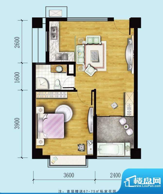 金螺湾公寓E户型 2室面积:52.24平米