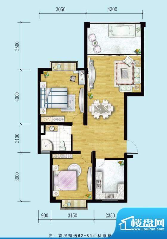 金螺湾公寓F户型 2室面积:85.68平米