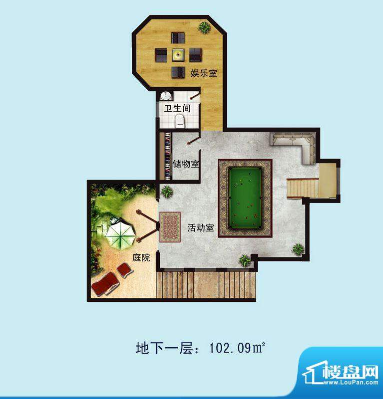 金螺湾别墅D户型地下面积:134.23平米