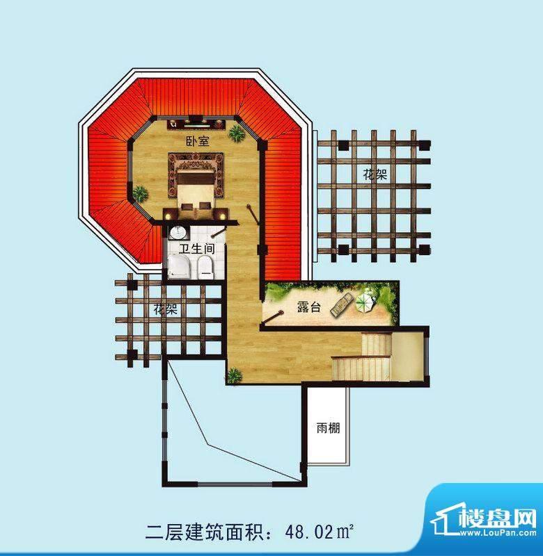 金螺湾别墅D户型二层面积:134.23平米