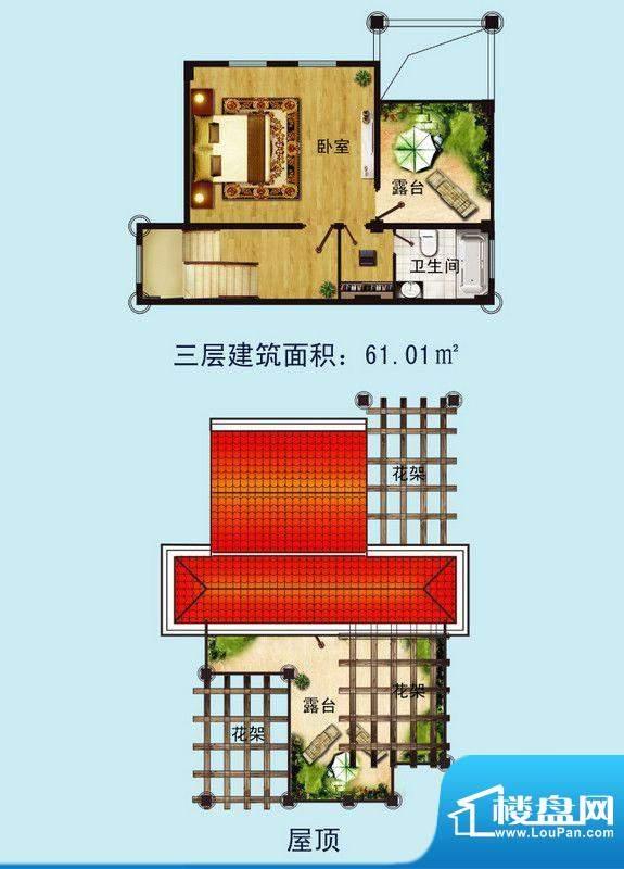 金螺湾别墅A户型三层面积:233.00平米