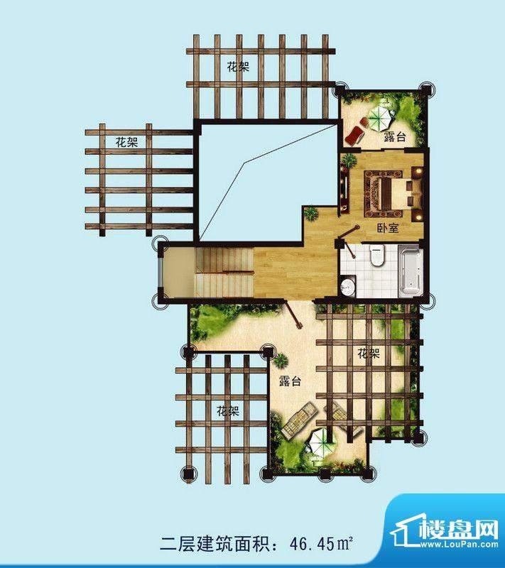 金螺湾别墅A户型二层面积:233.00平米