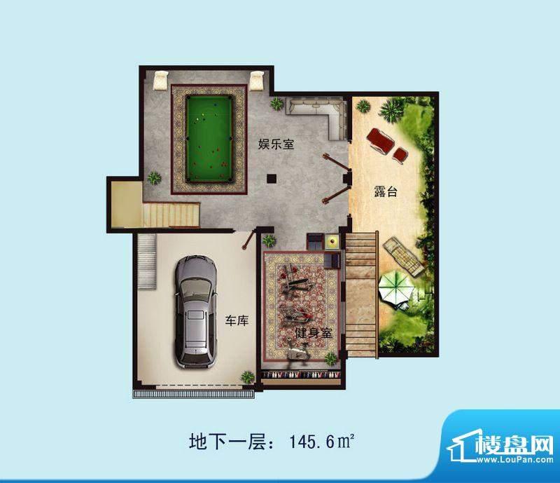 金螺湾别墅A户型地下面积:233.00平米