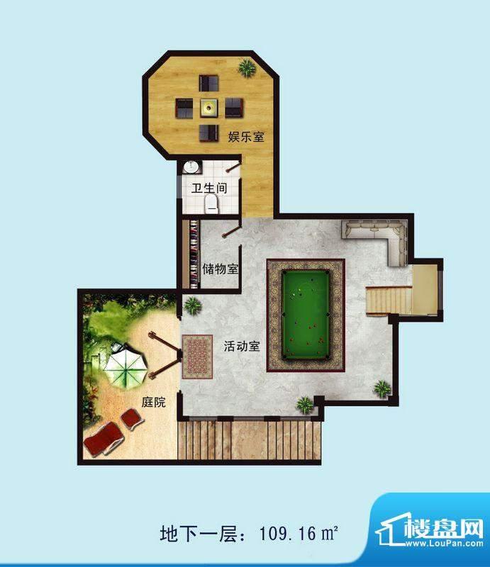 金螺湾别墅B户型地下面积:164.64平米