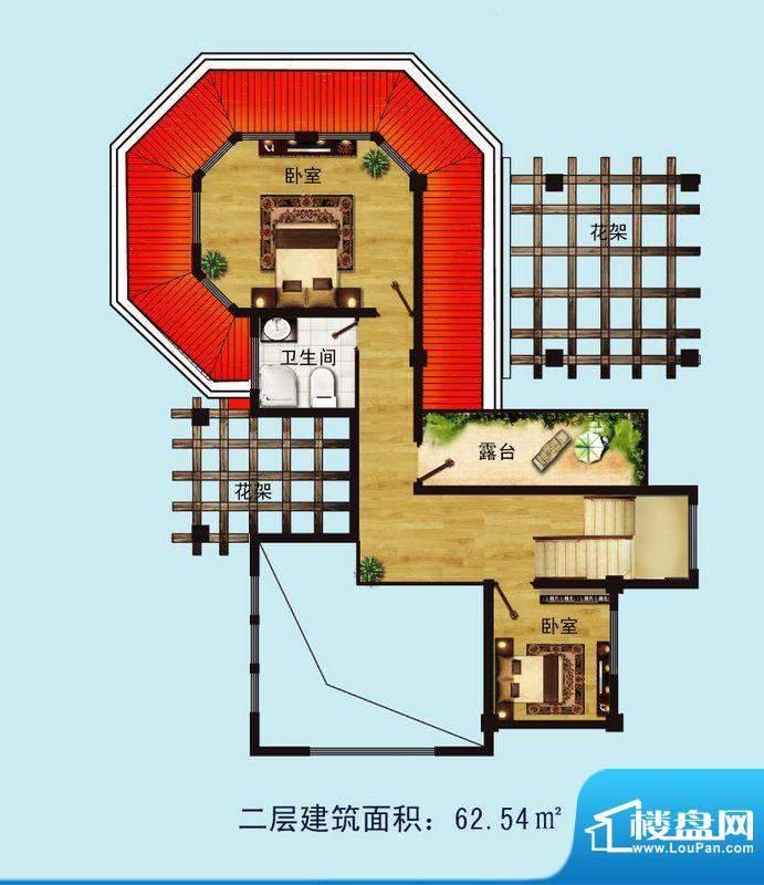 金螺湾别墅B户型二层面积:164.64平米