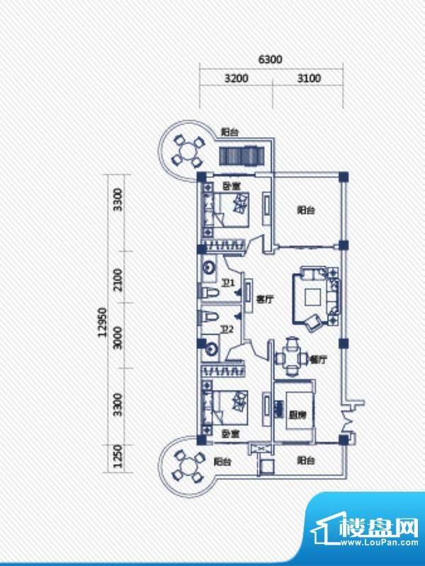 庄园丽都高层8号户型面积:100.00平米