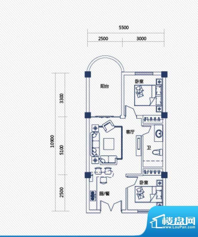 庄园丽都高层9号户型面积:63.00平米