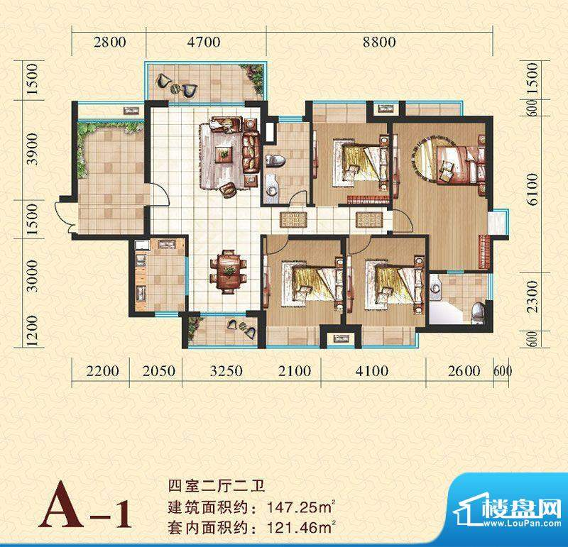 海尚明居A1户型图 4面积:147.25平米
