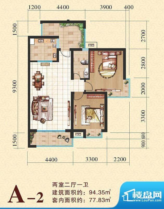 海尚明居A2户型图 2面积:94.35平米