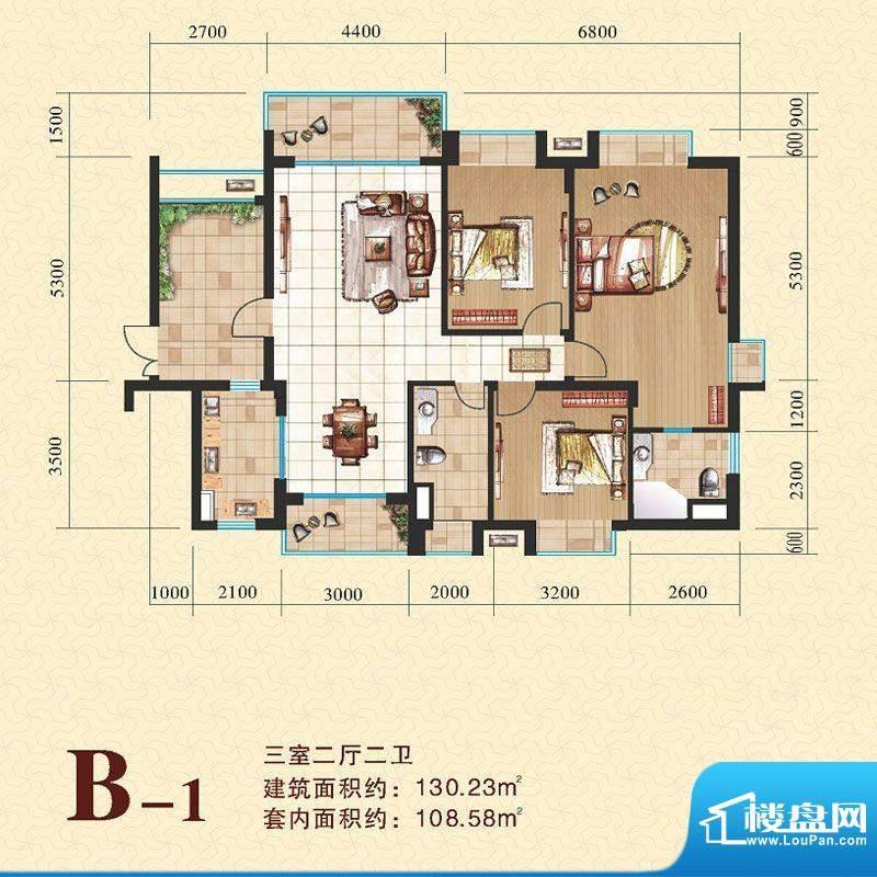 海尚明居B1户型图 3面积:130.23平米
