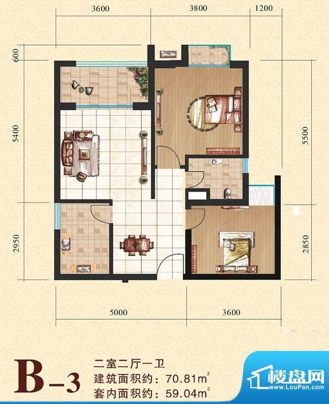 海尚明居B3户型图 2面积:70.81平米