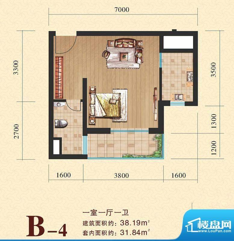 海尚明居B4户型图 1面积:38.19平米