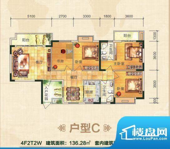 丽江家园C户型 4室2面积:136.28平米