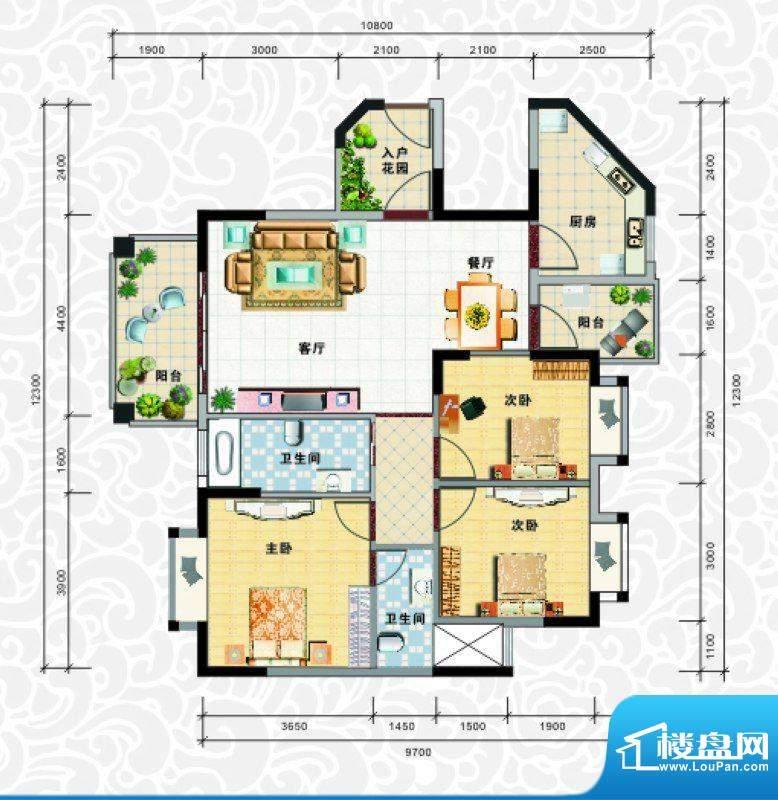 天龙佳园1号楼A-1户面积:111.09平米