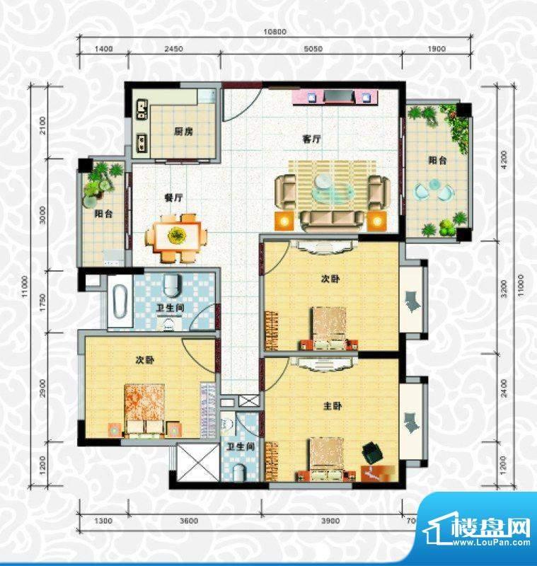 天龙佳园1号楼B-1户面积:108.98平米