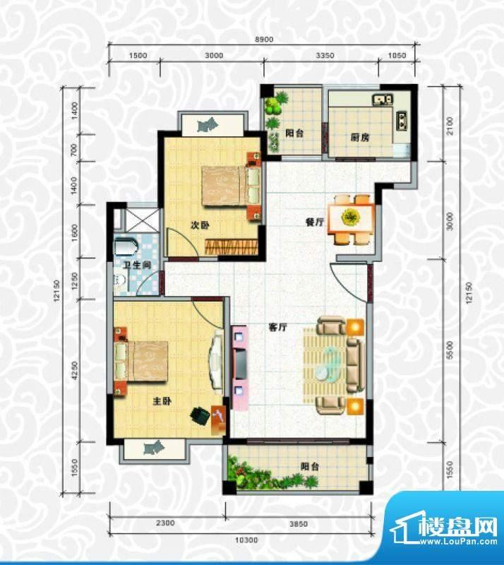 天龙佳园2号楼A-1户面积:90.66平米