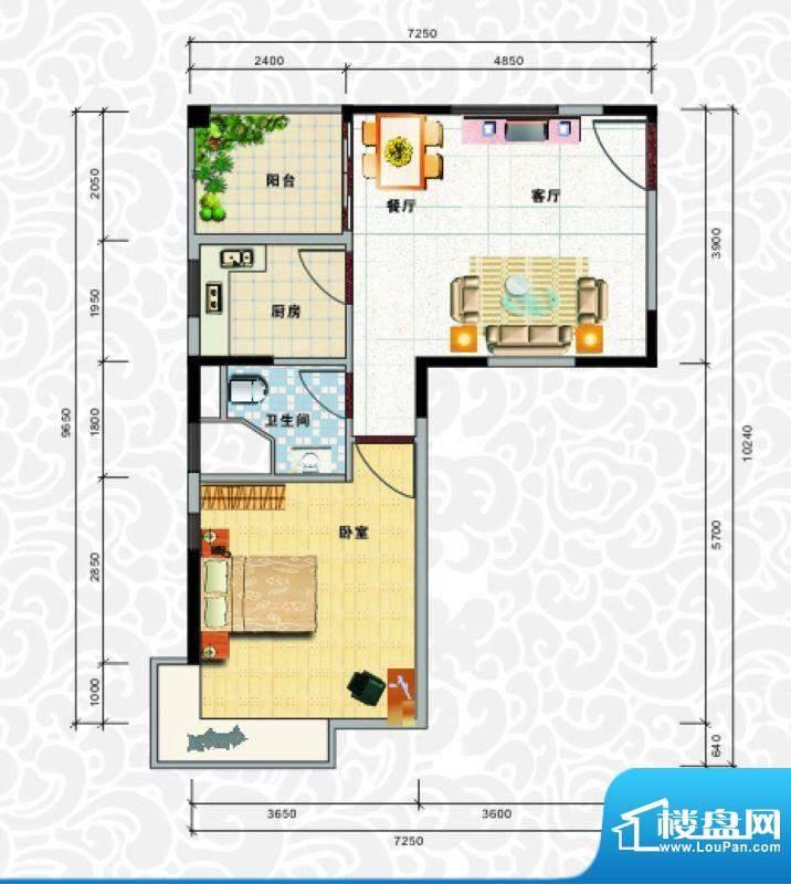 天龙佳园3号楼A-1户面积:55.85平米