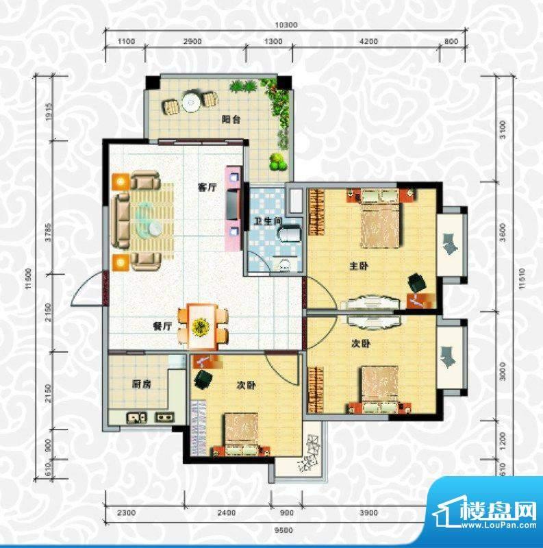 天龙佳园1号楼C-1户面积:90.33平米