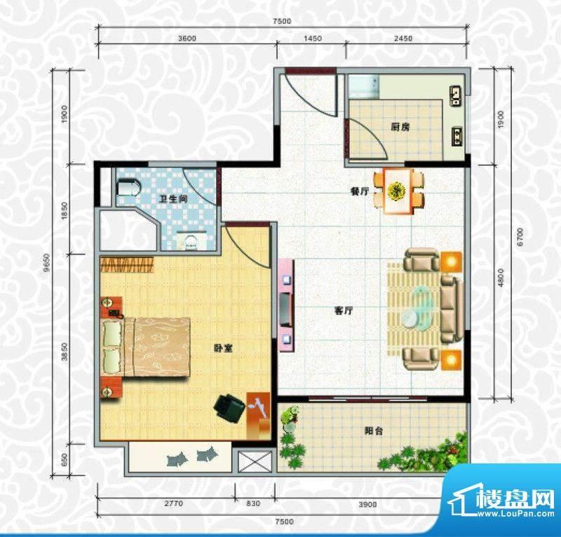 天龙佳园3号楼A-2户面积:58.86平米