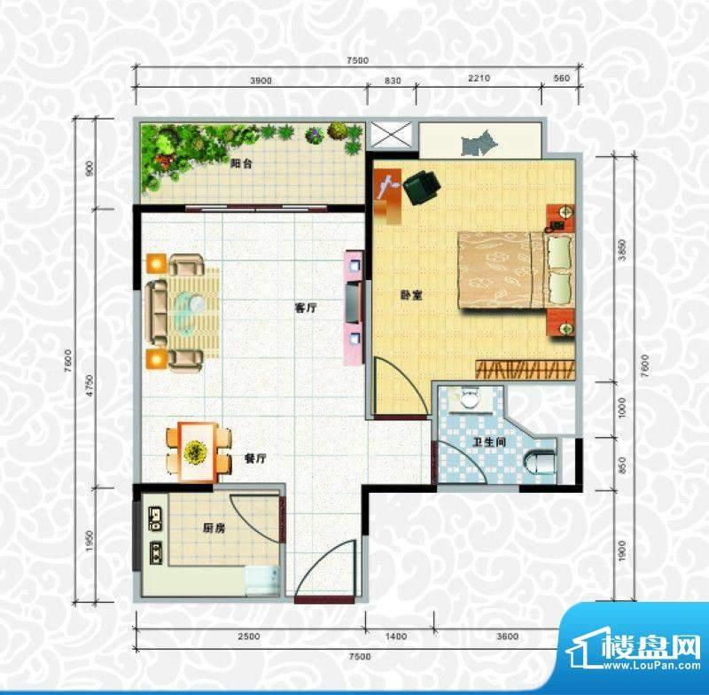 天龙佳园4号楼A-2户面积:61.77平米