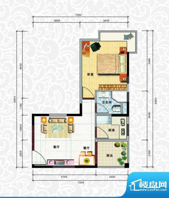 天龙佳园4号楼A-1户面积:57.56平米