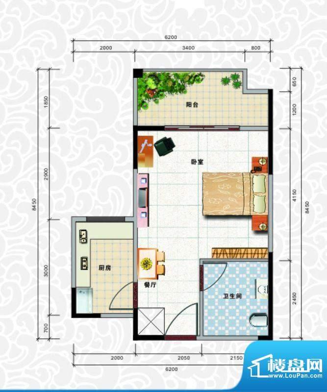 天龙佳园3号楼A-4户面积:45.04平米