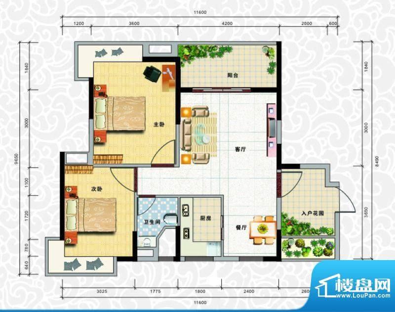 天龙佳园3号楼A-3户面积:81.12平米