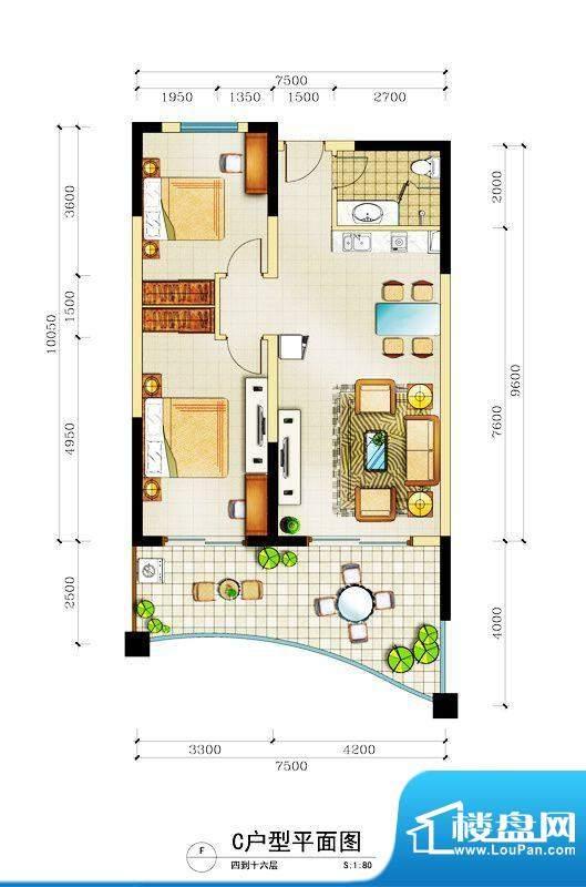 心屿海C户型 2室1厅面积:119.98平米