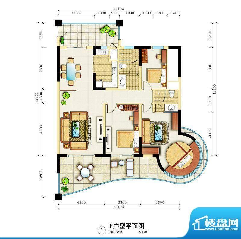 心屿海E户型 2室3厅面积:198.23平米