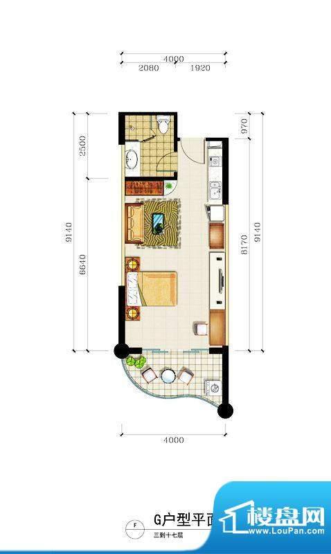 心屿海G户型 1室1厅面积:54.58平米