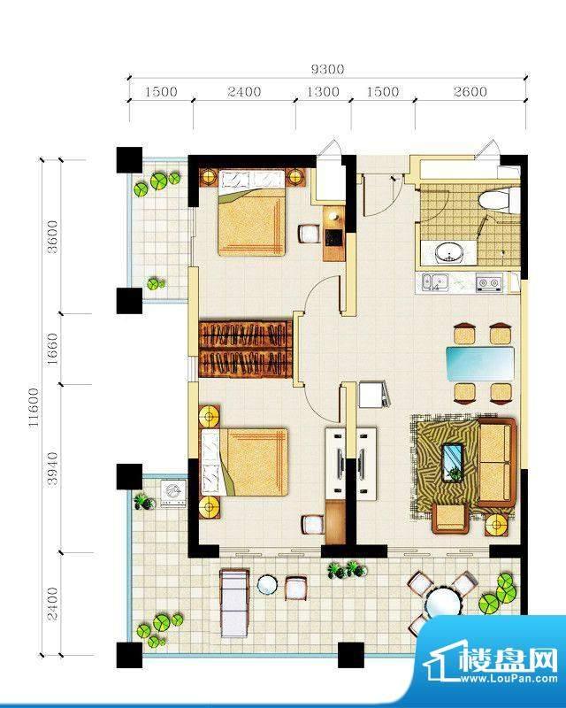 心屿海J户型 1室1厅面积:122.70平米