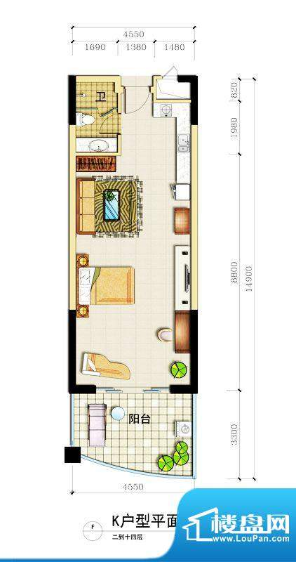 心屿海K户型 1室1厅面积:83.85平米