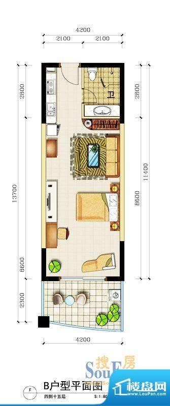 心屿海B户型 1室2厅面积:74.49平米