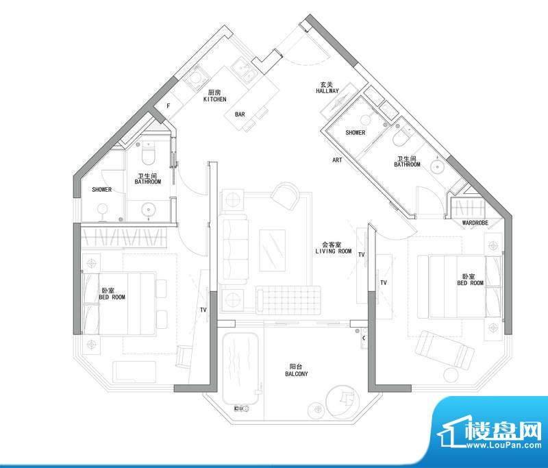 博鳌鹏欣白金湾C1-0面积:125.60平米
