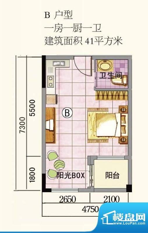 万特上好华庭B户型图面积:41.00平米