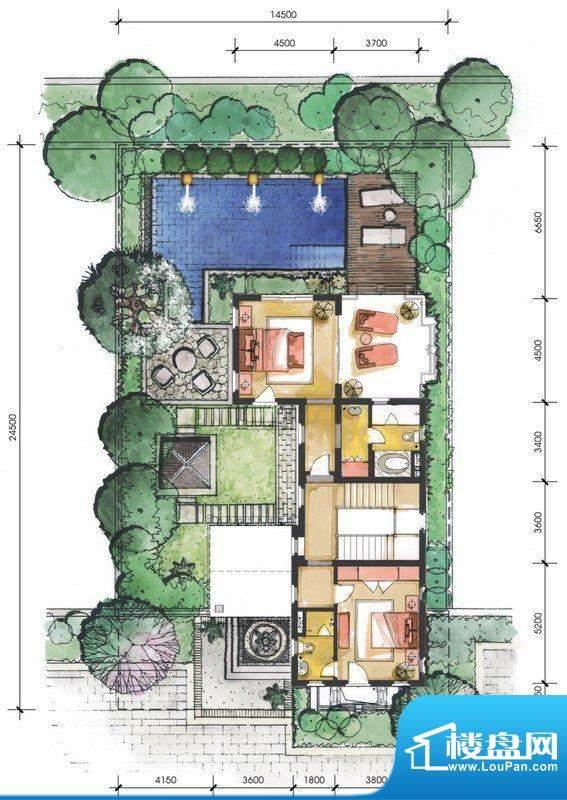 远洋华墅5A户型二层面积:93.03平米